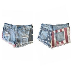 MOSSIMO American flag denim cutoff shorts size 16